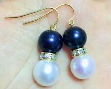 PERFECT 9-8mm AAA+ black white south sea pearl earring 14k