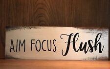 Rustic Wood Sign AIM FOCUS FLUSH Bathroom Home Decor Funny Restroom Sign boys