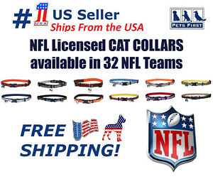 NFL Cat Collar - Licensed, Adjustable, Heavy-duty with Jingle Bell. 32 NFL Teams