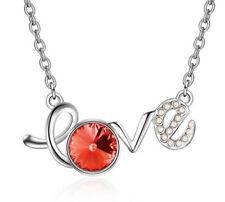 Fashion Womens LOVE Orange Crystal Rhinestone Silver Chain Pendant Necklace NEW