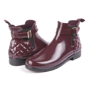 Hunter Refined Slim Fit Quilted Short Boot Gloss Chelsea  Maroon Purple NEW 10