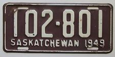 Saskatchewan 1949 License Plate NICE QUALITY # 102-801