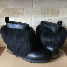b8521bc2b34 New ListingUGG Otelia Black Leather Sheepskin Cuff Ankle Boots Mini Booties  Size 8.5 Womens