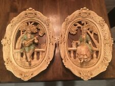 Jayes Studio Vin. Victorian Set Chalkware Wall Plaques Oval 3D. Numbered 311
