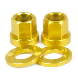 2 x SHADOW CONSPIRACY BMX BICYCLE AXLE NUTS + WASHERS 14mm SUBROSA HARO GT GOLD