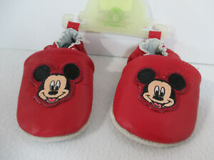 Baby Shoes Disney Mickey Mouse Moccasin Leather Red 6-12 Month Soft Sole New