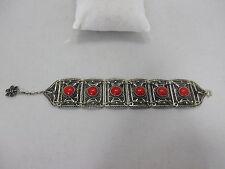 Bel Bracciale filigranglas con guarnizione in rosso in argento 800 punziert