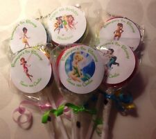 Tinkerbell And Fairies Swirl/Twirl Lollipop Candy/Party Favor Personalized 12 Ct