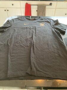 MENS Nike FC Barcelona LIONEL Messi #10 Soccer Cotton Black/GOLD T-Shirt XL NWT