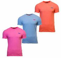 Superdry Mens Orange Label Fluro Grit Short Sleeve T-Shirt Pink Blue Orange