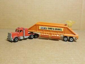 HOT WHEELS 1980 Steering Rig Peterbilt BOB's Sand & Gravel trailer semi VINTAGE