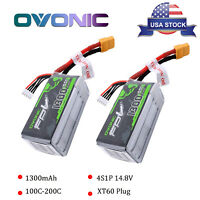 2X 1300mAh 4S 14.8V 100C RC Lipo Battery Power Pack XT60 Plug For FPV Quad Drone