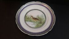 """Mitterteich Hand Painted Porcelain Plate LONG BEADED CURLEW Silver Edge 12 5/8"""""""