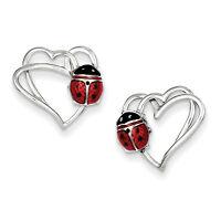 925 Sterling Silver Polished Enamel Heart With Enameled Ladybug Post Earrings