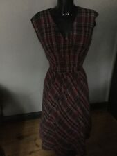 Monsoon Wine Tartan Dress Size 12
