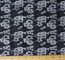 "Black/White Brocade Jacquard 100% Silk Fabric, 44"" Wide, By The Yard (JD-364)"