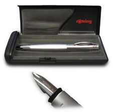 ROTRING INITIAL SILVER FOUNTAIN PEN  MEDIUM PT   NEW IN BOX