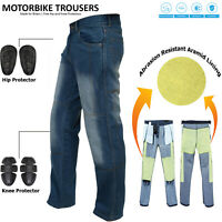 Mens Aramid Protective Lining Motorcycle Motorbike Jeans Trousers free Armours