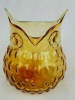 "Martha Stewart - Owl Vase / Bowl Blown Glass Amber Hobnail Bubble Vase - 7"" Tall"