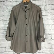 Top Man Shirt XL Long / Short Sleeve Grey Black Stripe Summer