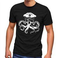 Herren T-Shirt Kapitän Totenkopf Oktopus Captain Skull Krake Fashion