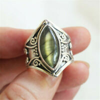 Vintage Opal Peridot Gemstone 925 Silver Ring Women Wedding Jewelry Size 6-10
