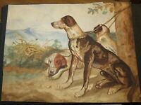 Ecole FRANCAISE XIX DESSIN AQUARELLE PAYSAGE CHIENS de CHASSE BRAQUE DOGS 1850