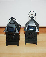 "2 pc Black Metal Lantern Solar Lights Light Changes Colors  8""H x 3 1/2""W"