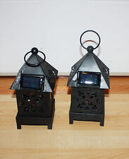 "Black Metal Lantern Solar Lights 2 pc  Light Changes Colors  8""H x 3 1/2""W"