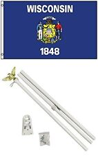 3x5 State of Wisconsin Flag White Pole Kit Set 3'x5'