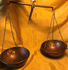 "Antique 5.75"" Copper Bowl Scale Balance w Iron Bar & Incised Marks: Langley"