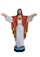 Sacred Heart of Jesus with open arms fiberglass statue cm. 200 - glass eyes