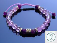 Aquarius Birthstone Bracelet Natural Amethyst 7-8'' Macrame Healing Stone Chakra