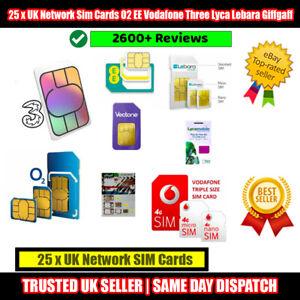 25 x UK Network Sim Cards O2 EE Vodafone Three Lyca Lebara Giffgaff Bulk lot