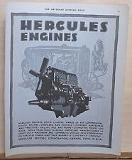 1930 magazine ad for Hercules Engines - illustration of engine