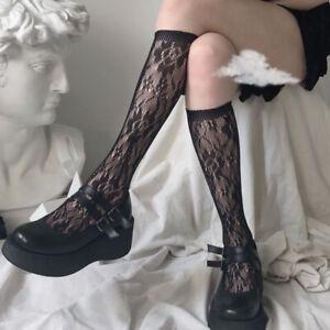 Femme Floral Dentelle Lolita Chaussette Collants Pur Maille Longueur Mollet Punk
