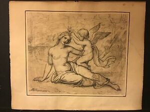 Antique Original 1824 Pen & Ink Art Drawing Venus & Cupid signed classical nude
