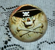 Pirate Skull Paperweight Doomed 3 Inches Round Acrylic 22054 New