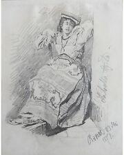 Joseph Emanuel Weiser: Labella Agila - Original Bleistiftzeichnung, Rom,  1874