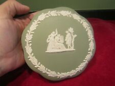 RARE GREEN AND WHITE GRECIAN FIGURES WEDGWOOD JASPERWARE LIDDED TRINKET DISH VGC