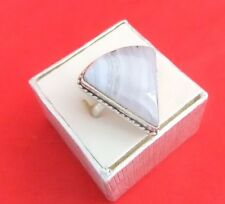 925 Sterling Silver Large Blue Lace Agate Ring
