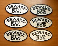 BEWARE OF THE DOG Sign Gate CLEARANCE Cast Iron Hand Painted 2NDS 17cm