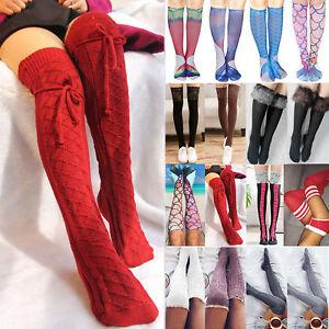 Womans Girls Winter Leg Warmers Knee Length Knitted Crochet Long Socks Stockings