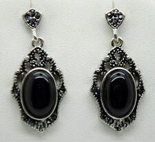 vintage marcasite style post/drop black fashion earring  WE-06 US-SELLER