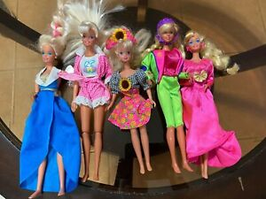 Lot of 5 Vintage Barbie Dolls Blonde Brunette RARE w/ clothes 1975 1986/87 1993