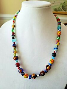 Venetian Glass Necklace Murano modern beaded Necklace Togle clasp
