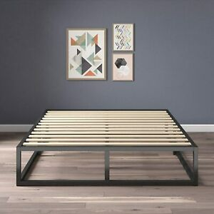 Zinus Joseph DOUBLE Bed Base Industrial Metal Frame 25.5cm with Timber Slats