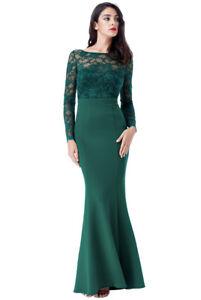 Goddiva Lace Open Back Bow Long Sleeve Maxi Evening Fishtail Party Dress Prom