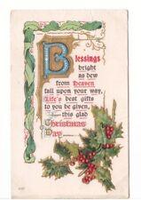 Christmas Day Blessings, Holly, Vintage Embossed Greetings Postcard