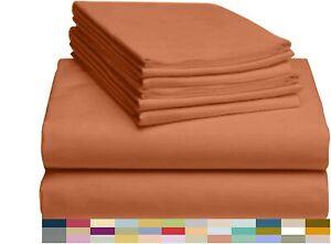LUXCLUB 6 Piece Luxury Bamboo Blend King Size ( Autumn Orange)
